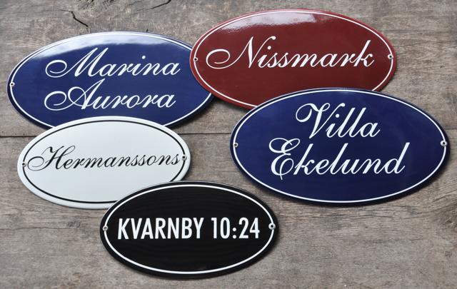 exempel ovala namnskyltar