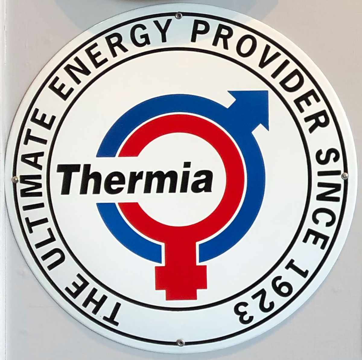 Skillinge Emalj företagsskylt för Thermia