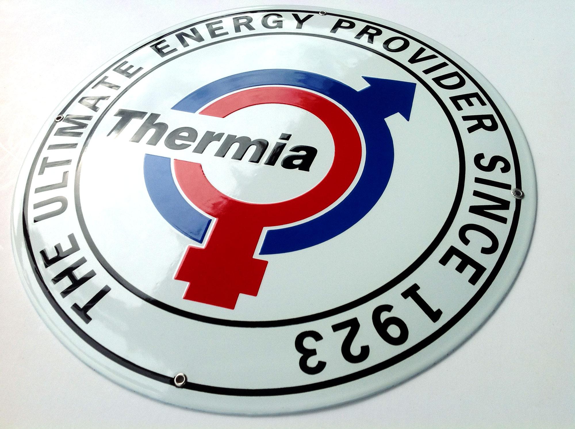 Thermias logoskylt till samtliga europeiska återförsäljare.